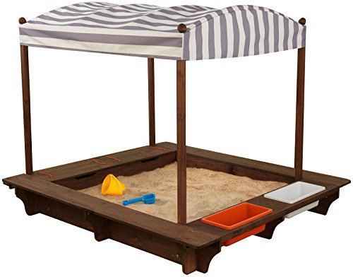 Outdoor Sandbox with Canopy - Gray and White