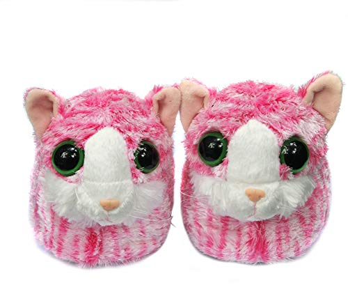 Plush Men Women Kitty Pink Onmygogo Fuzzy Lovely Big And Slippers For Eyes Cat Winter Soft Indoor With Animal Kid wxvqPX0