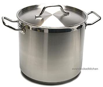 20 QT STAINLESS STEEL STOCK POT W/ LID (COMMERCIAL GRADE NSF) Update