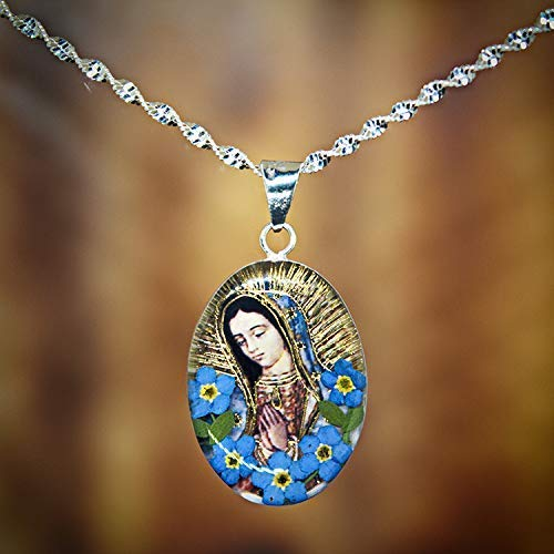 Sterling Silver Oval Pendant with our Lady of Guadalupe image and Real Natural Forget Me Not flowers (Symbol of Eternal Love)17.7 inches .925 Heart Link Chain - Perfect Religious Mexican GIFT -
