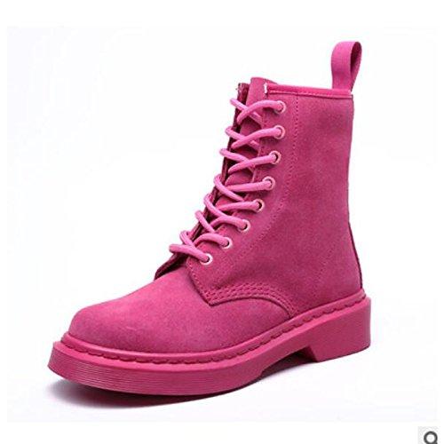 Zapatos Round Pink Chunky tacón Casual Mujer botas Negro Toe Confort PU botines botines Rosa Otoño Invierno de de de caqui HSXZ dqPxwvfRWd