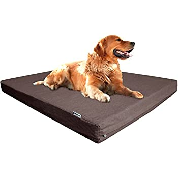 dogbed4less orthopedic memory foam dog bed with washable denim cover waterproof internal liner and 2nd replacement case 40 x 35 x 4inch brown