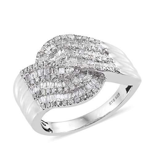 (925 Sterling Silver Platinum Plated Diamond Baguette Bridal Anniversary Ring for Women Cttw 1)