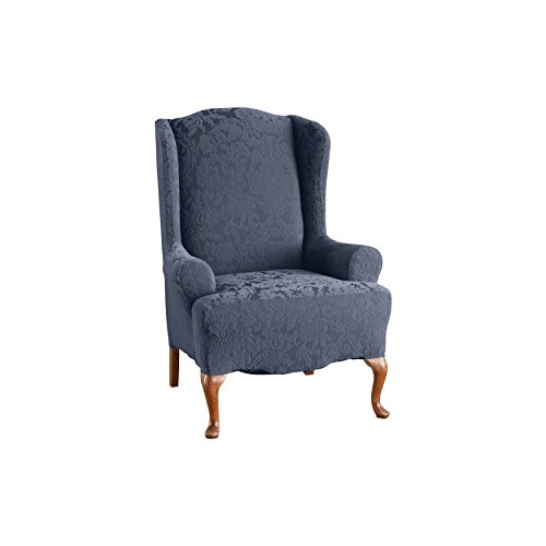 (SureFit Stretch Jacquard Damask - Wing Chair Slipcover  - French Blue (SF44626))