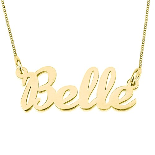 HACOOL Any Personalized Name Necklace 925 Sterling Silver Necklace in 18k Gold Plated Custom Any Name (Live Free Peace Sign)