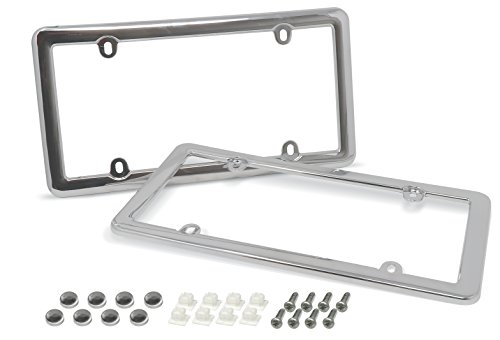 - Cruizin Along 4 Hole Classic License Plate Frames with Fastener Caps and Mounting Hardware - 2 PC Value Pack (Chrome)