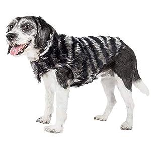Pet Life ® Luxe 'Chauffurry' Beautiful Designer Zebra Patterned Mink Fur Dog Coat Jacket, Large, Black Click on image for further info.