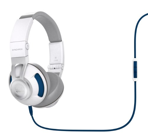 JBL Synchros S300 Premium On-Ear Stereo Headphones with Universal Remote, White/Blue