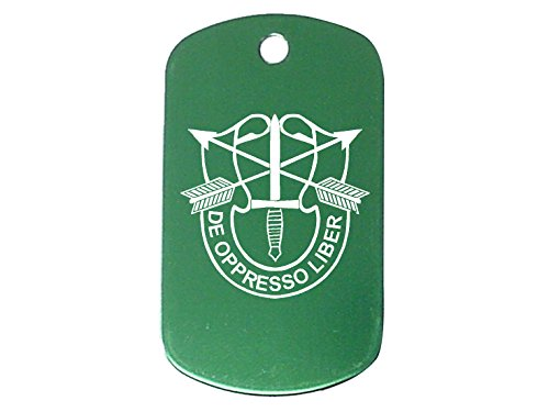 Forces Emblem (Green Dog Tag Kit With 24'' Chain & Silencer US Army Special Forces Emblem)