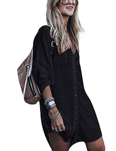- Bsubseach Black Long Sleeve Bikini Cover Up for Women Loose V Neck Swimwear Beach Shirt Tunic Dress