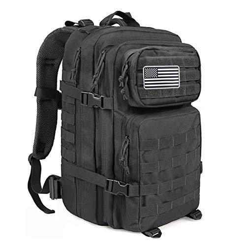 4b314512d838 MEWAY Military Tactical Backpack Large Assault Pack 3 Day Army Rucksacks  Outdoor Hunting Backpacks 42L (Black)