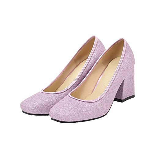 Violet Correct À Femme Légeres Agoolar D'orteil Paillette Chaussures Talon Fermeture OUZWSqxHw