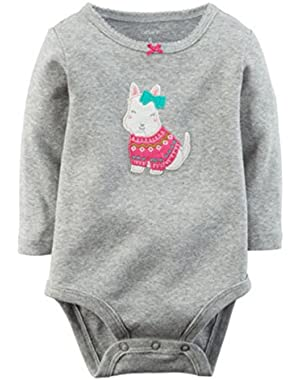 Baby Girls Gray Dog Appliqué Bodysuit nb