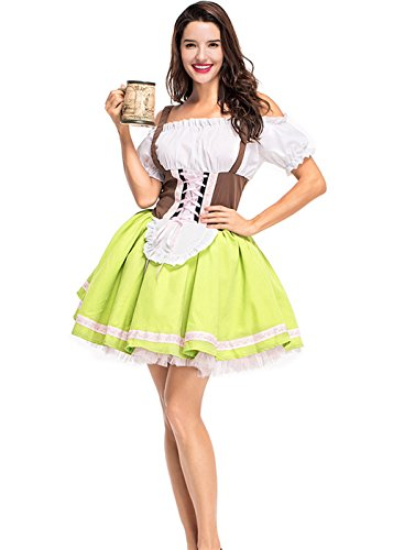 Womens German Dirndl Dress Off Shoulder Oktoberfest Beer