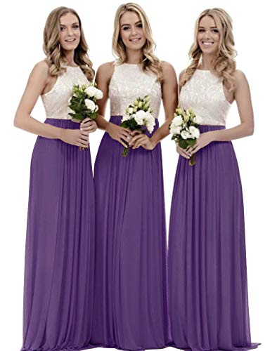 - Women's A Line Top Lace Bodice Bridesmaid Dress Chiffon Long Formal Evening Dress Plum Size 2