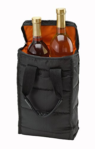 Wine Carrier Tote Bag - 2 Bottle Pockets - Attractive wine bag with thick external padding, zipper and easy to carry handles. The wine tote bag is perfect for travel, picnics or a day at the beach. 2 Bottle Wine Holder