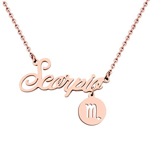 (Best Birthday Gift 12 Zodiac Necklace Constellation Horoscope Astrology Disc Charm Necklace Pendant (Rose Gold Scorpio Necklace))