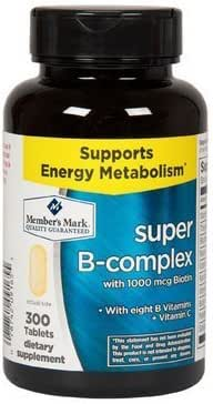 Member's Mark Super B-Complex with Biotin Vitamin B and Vitamin C (1 Bottle (300 Tablets))