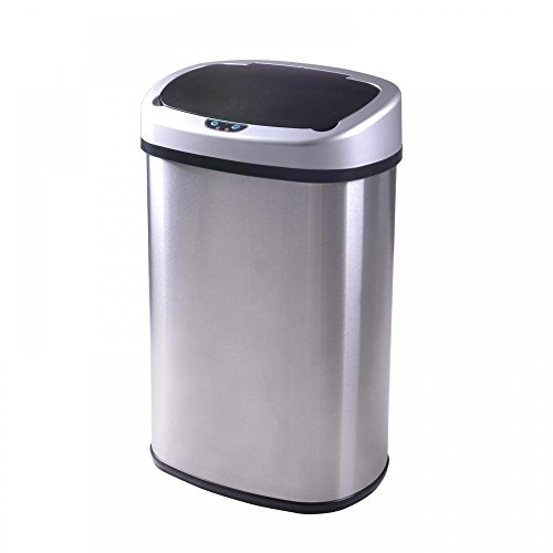 [13 Gallon Automatic Touch Free Sensor Stainless Steel Trash Can Kitchen Office Home] (Bag Of Trash Costume)