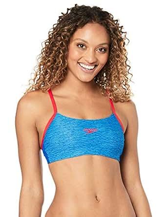 Speedo Women's Endurance+ Crop TOP, MRL Lin/Beau Blue/us Rd, 8