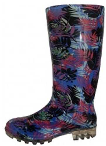 Shoes8teen Shoes 18 Womens Classic Rain Boot Tropical Leaves