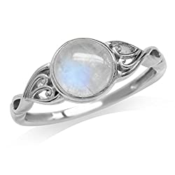 Natural Moonstone Sterling Silver Solitaire Ring