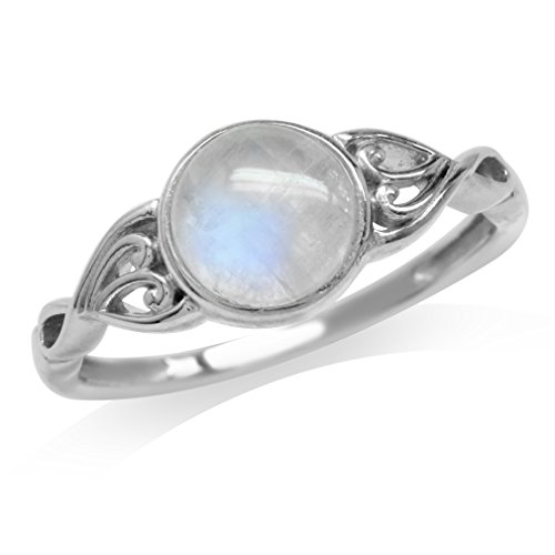 Natural Moonstone White Gold Plated 925 Sterling Silver Victorian Style Solitaire Ring Size 8