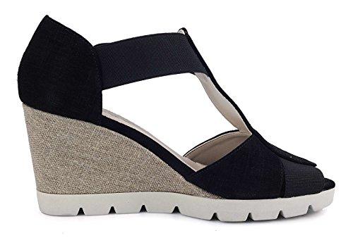 Donna Lotto The Sandalo Nero Zeppa Flexx q6UwUAI