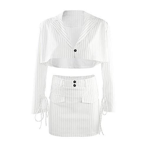 Trajes de 2 Piezas para Mujer - Elegante Manga Larga Blazer Chaqueta a Rayas + Mini Falda Oficina Casual Conjunto Chaqueta de Traje