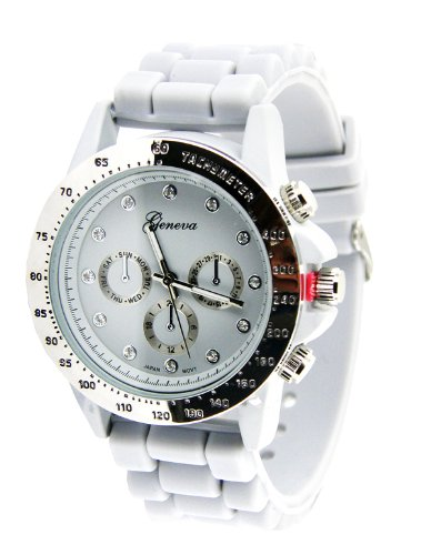 Geneva Fancy Silicon Chronograph Style Watch-Gold-Silver