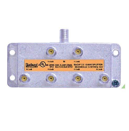 Starburst 6-Way Coax Splitter Horizontal SB-6WMS-2.0 MOCA 2.0 CATV FIOS Verizon Frontier Compatible