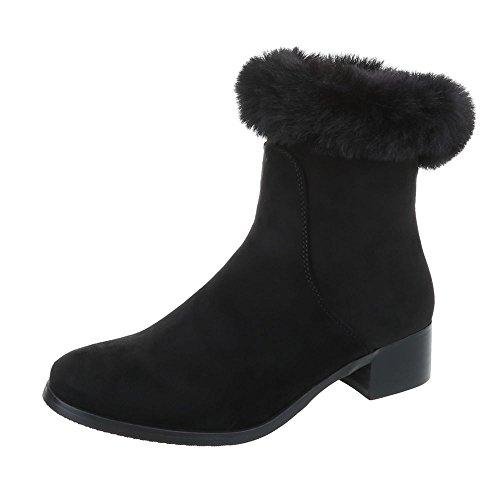Ital-Design Women's Boots Block Heel Classic Ankle Boots Black xNhJSc