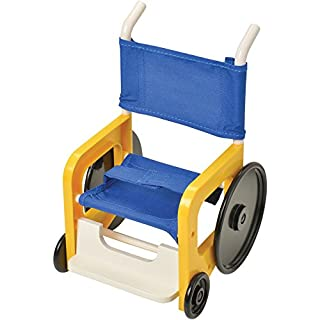 "Constructive Playthings 7"" W. x 8"" D. x 11"" H. Wheelchair for 16"" Dolls Made of Plastic with a Belted, Canvas Seat; Promotes Awareness of Special Needs; Ages 19 Months and Up"