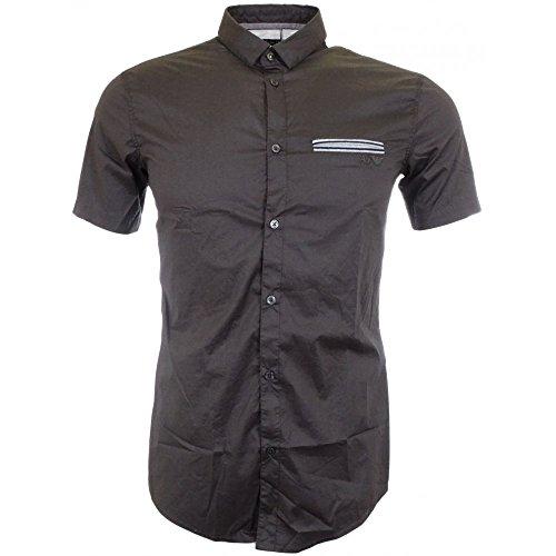 ARMANI JEANS A6C76 Grey Short Sleeve Extra Slim Shirt S Grey