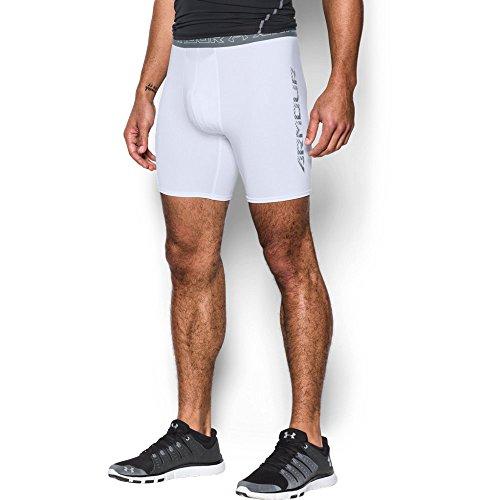 Under Armour Men's HeatGear Armour Compression Shorts w/ Cup Pocket, White/Graphite, X-Large