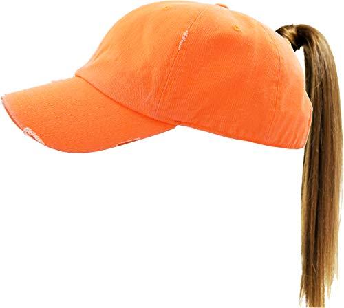 - Funky Junque Womens Baseball Cap Dad Hat Ponytail Messy Bun Trucker Ponycap (Solid - Neon Orange)