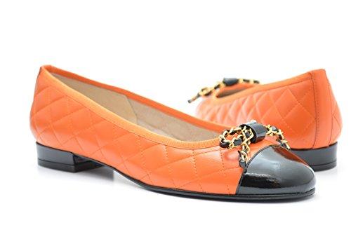 Puntale 10 G E Signore Arancione Pelle Degli Scarpe Pelle Con Occhi Oro In Trapuntata Ballerina In Brevetto Finiture nPZSxazq