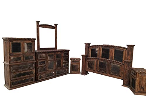 King Size Hi End Cowhide Inlay Rustic Western Bedroom Set Solid Wood 6 Piece Set in Dark Wax Finish
