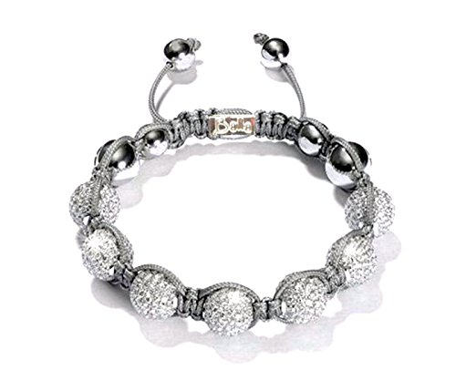 Mother's Day Gift Bracelet, Elegant Silver & Shamballa Crystal Beaded Sparkle Adjustable Bracelet by Balla (Happy Chic Nina)