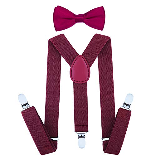Child Kids Suspenders Bowtie Set - Adjustable Suspender Set for Boys and Girls (25Inches (5 Months to 6 Years),Burgundy) -