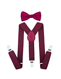 Child Kids Suspenders Bowtie Set - Adjustable Length 1 Inches Suspender with Bow Tie Set for Boys and Girls (Wine red)