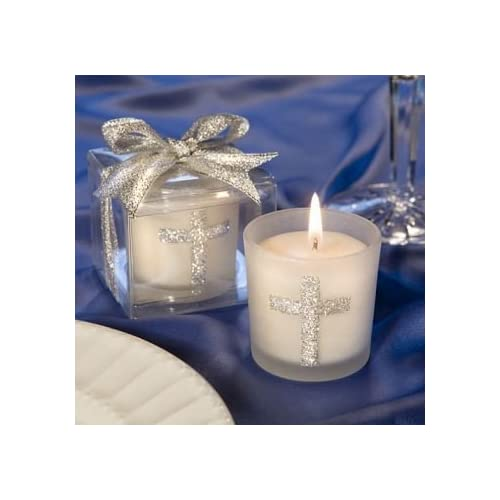 fashioncraftwedding party bridal shower favors candle favors with sparkling silver cross set