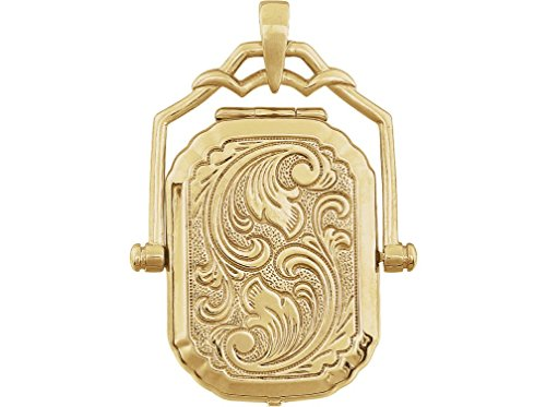 14k Yellow Gold Victorian Style Embossed Swivel Locket - Victorian Secretary