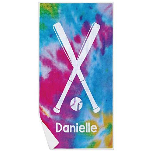 (ChalkTalkSPORTS Personalized Softball Premium Beach Towel | Tie Dye Pattern with)