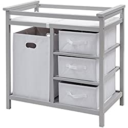 Costzon Baby Changing Table, Diaper Storage Nursery Station with Hamper and 3 Baskets (Gray+White)