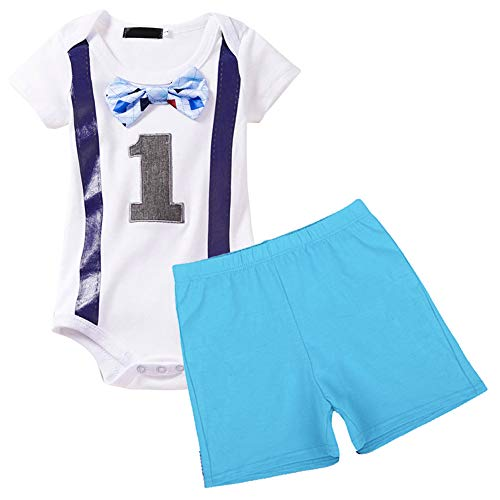 (Baby Boys 1st Birthday Outfit Short Sleeve Bodysuit 2PCS Gentleman Romper Bow-tie Pants Party Photography Clothes Set)