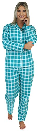 Womens Cotton Flannel Lounger (PajamaMania Women's Sleepwear Flannel Long Sleeve Pajamas PJ Set- Emerald Plaid (PMF1002-2060-XS))