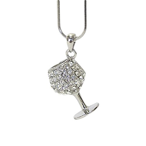 (Lola Bella Gifts Crystal 3D Wine Glass Pendant Necklace with Gift Box)