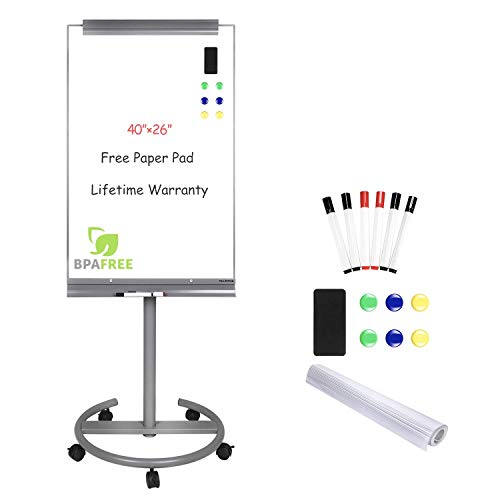 Magnetic Mobile Standing Whiteboard - 40 x 26 Inches Dry Erase White Board Tripod Whiteboard with Stand Flipchart Easel Height Adjustable by TSJ - White Click Wheel