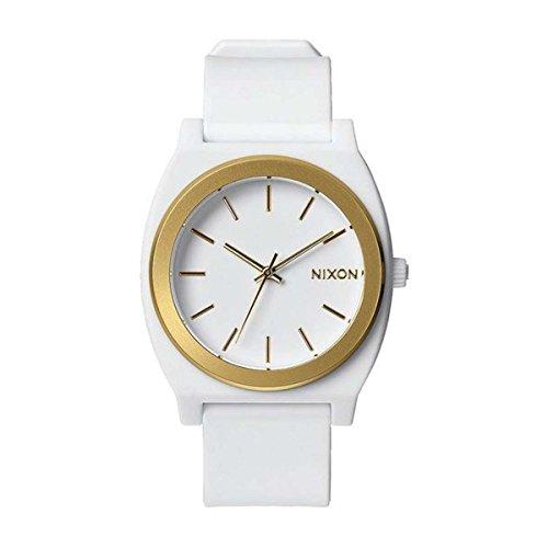 Time Mens White Dial (Nixon Time Teller P White Dial Polyurethane Strap Mens Watch A1191297)